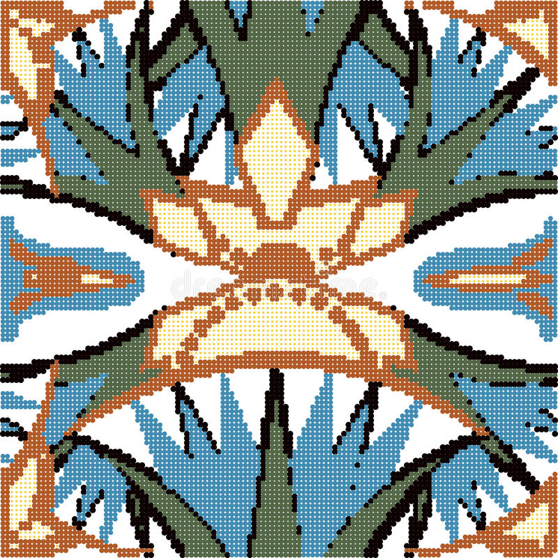 Halftone colorful seamless retro pattern vintage sawtooth flower. Cross can be used for both print and web page vector illustration
