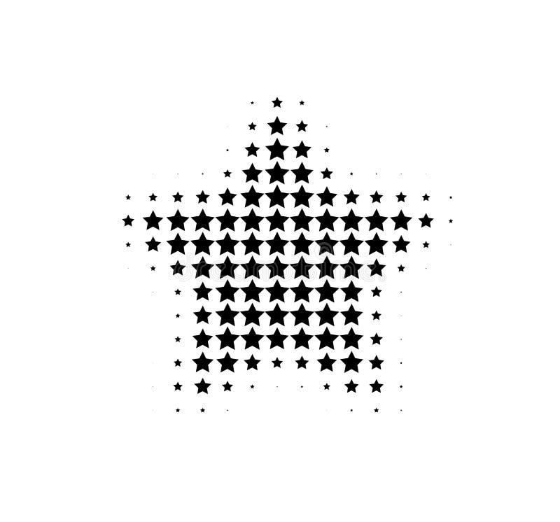 Halftone cool black star. vector illustration