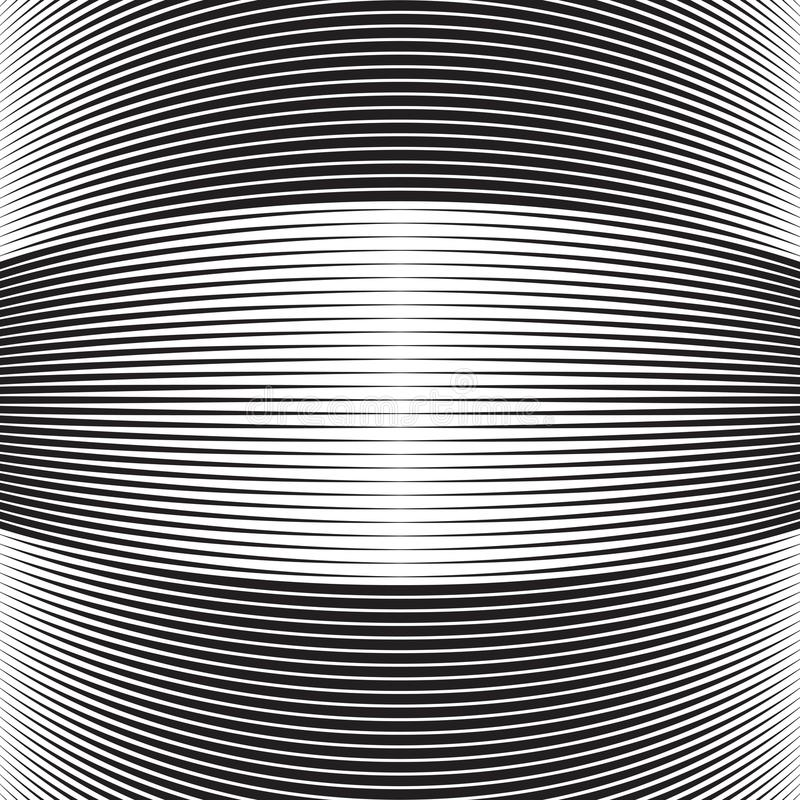 Halftone curved lines. Bulge stripes with lines royalty free illustration