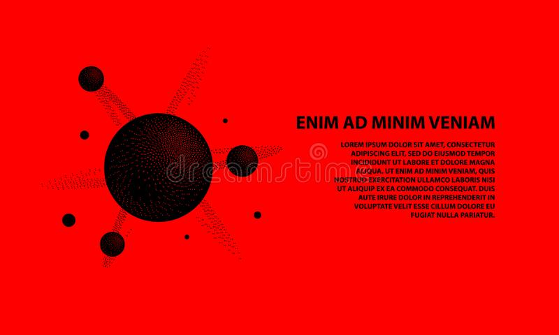 Halftone 3d black molecule with a nucleus and atoms on a red background. Dotwork science and technology banner template. vector illustration