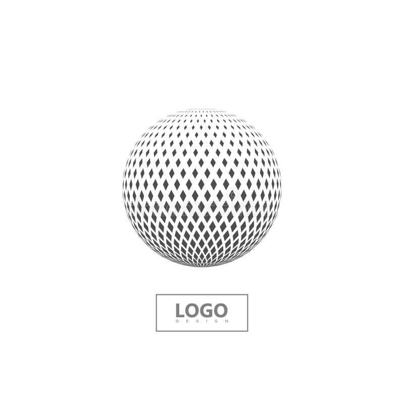 Halftone 3d sfera odizolowywająca na białym tle ilustracja wektor