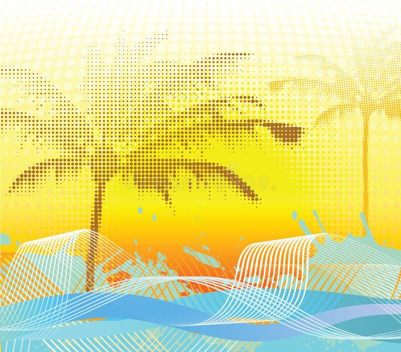 Halftone de palmachtergrond van Sumer vector illustratie