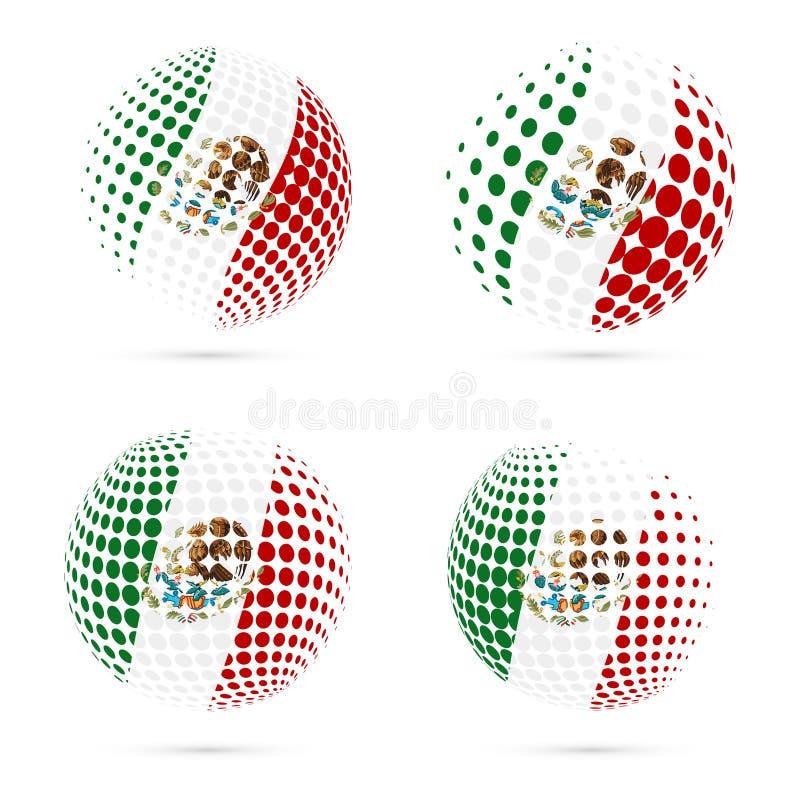 Halftone de vlag vastgesteld patriottisch vectorontwerp van Mexico stock illustratie