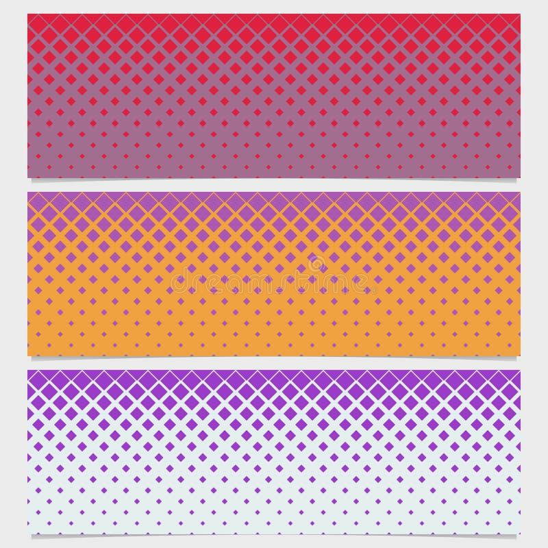 Halftone diagonale vierkante het ontwerpreeks van de patroonbanner stock illustratie