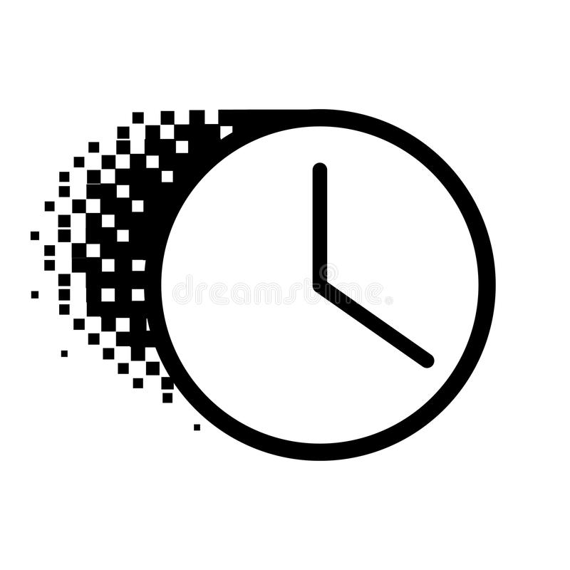 Halftone dot Clock icon. Vector clock icon in dissolved, dotted halftone. Disappearing effect involves square dots stock illustration