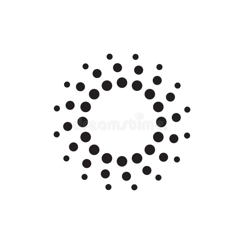 Halftone dots forms. Abstract circular halftone dots form. Digital flower icon design. Dotted logo template. Vector illustration royalty free illustration