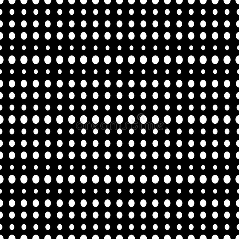 Big and small White Polka Dots on Black background, Seamless. Seamless pattern of large and small white polka dots on a black background for arts, crafts stock illustration