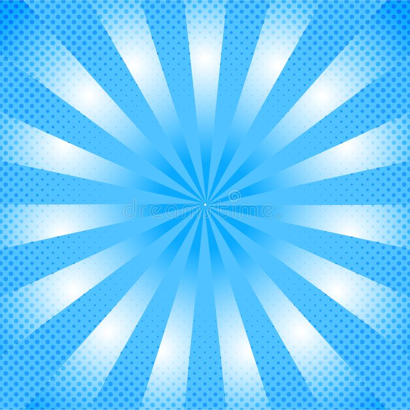Shining Blue Comic Background with Zoom Effect and Halftone Dots Pattern stock images