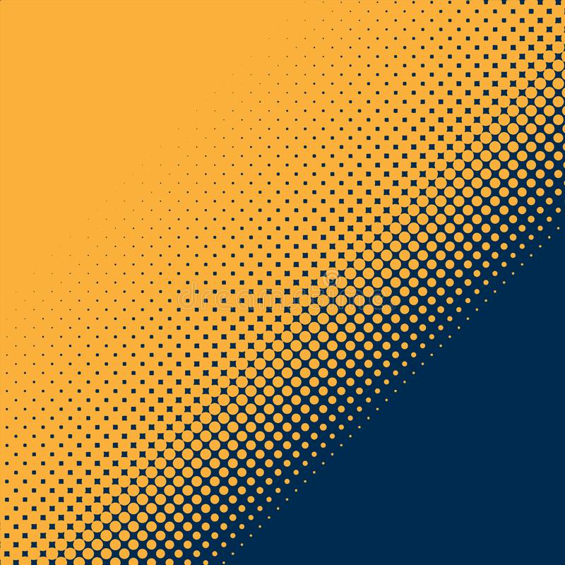 Abstract Yellow Halftone Dots Pattern in Dark Blue Background vector illustration
