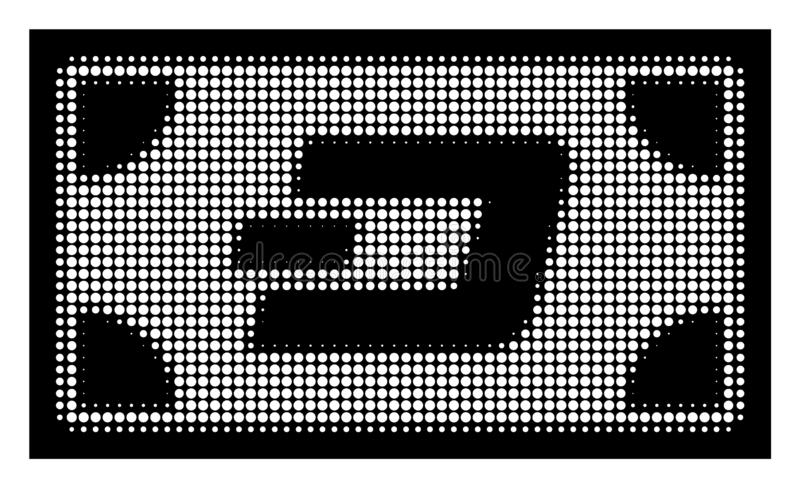 White Halftone Dash Banknote Icon. Halftone dotted Dash banknote icon. White pictogram with dotted geometric structure on a black background. Vector Dash royalty free illustration