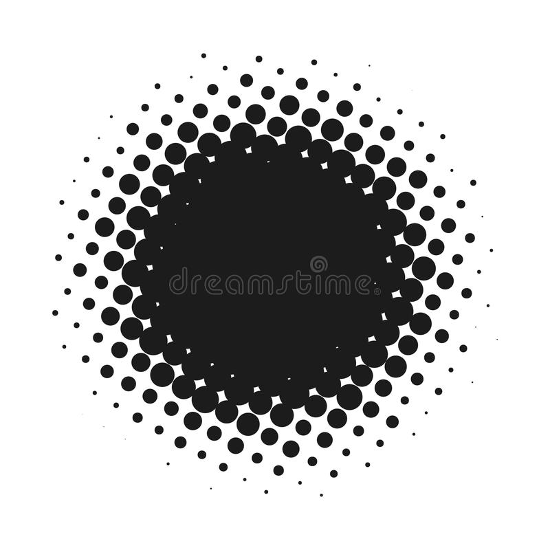 Halftone dotted vector abstract background, dot pattern in circle shape. Black comic banner isolated white backdrop royalty free stock photo
