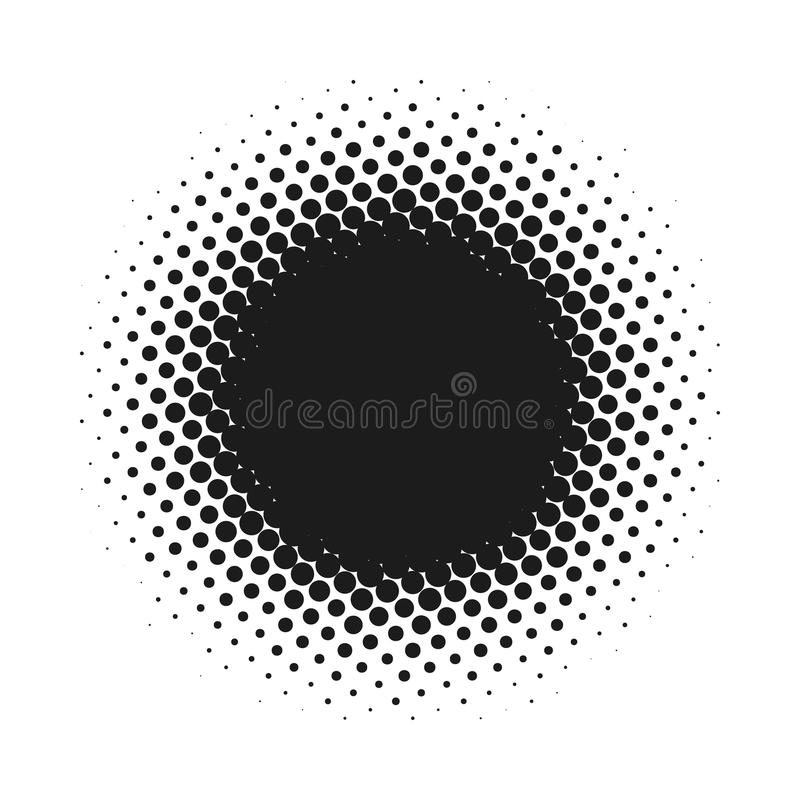 Halftone dotted vector abstract background, dot pattern in circle shape. Black comic banner isolated white backdrop royalty free illustration