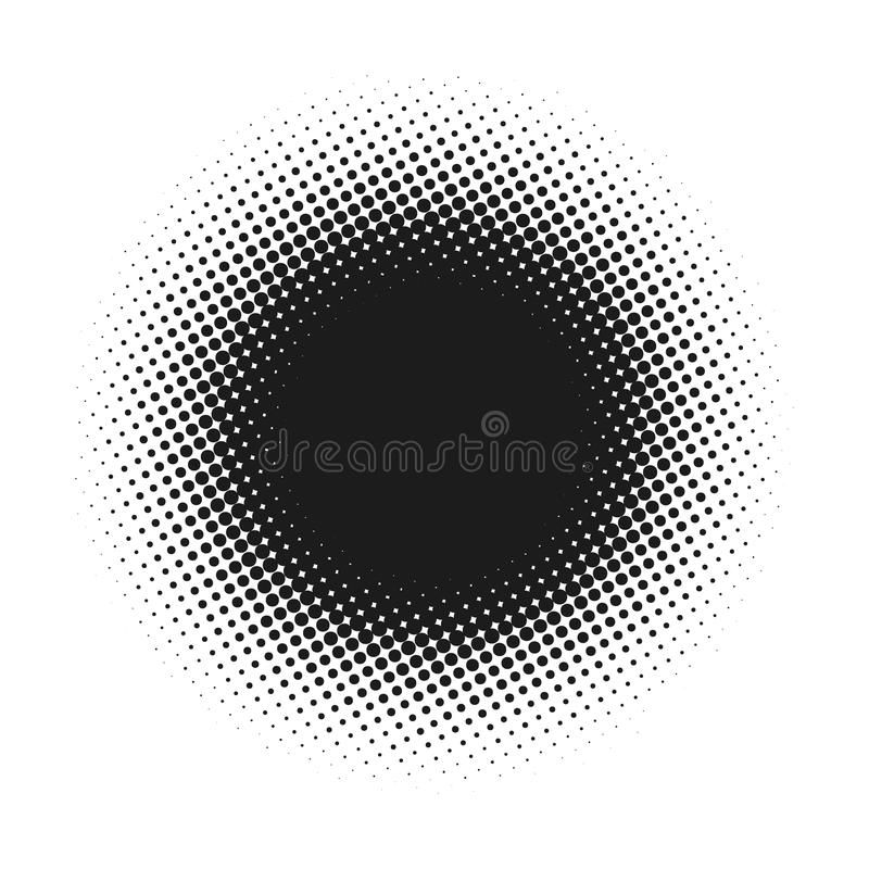 Halftone dotted vector abstract background, dot pattern in circle shape. Black comic banner isolated white backdrop stock photography