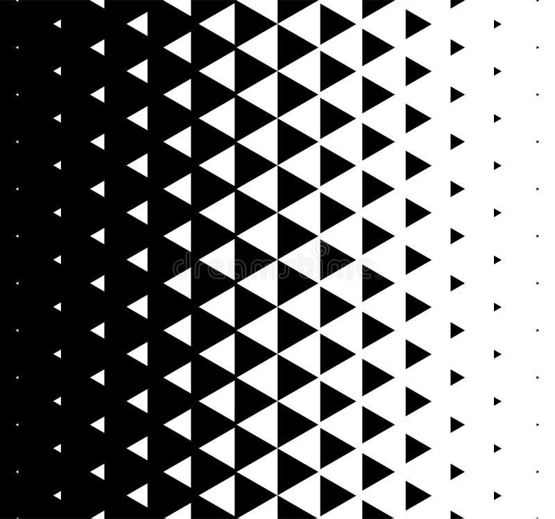 Halftone Driehoekige Patroonvector Abstracte Zwart-wit Geometrische het Ontwerpachtergrond van het Driehoekspatroon vector illustratie