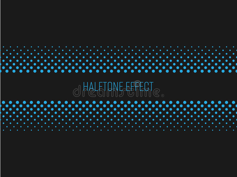 Halftone effect title strip with blue text on dark grey background. Vector illustration royalty free illustration