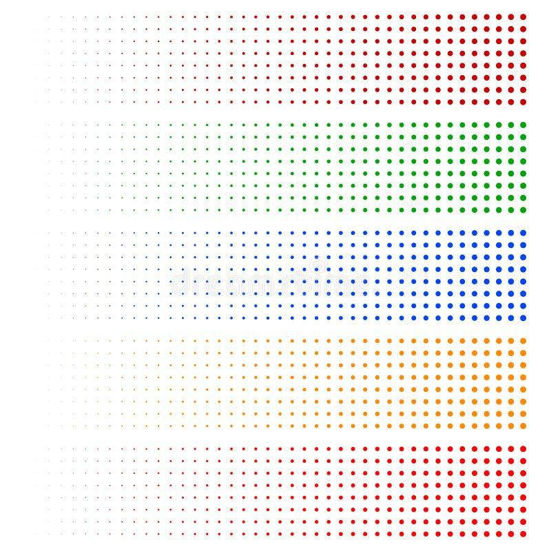 Halftone elementy Blaknąć okręgi w 5 kolorach ilustracja wektor