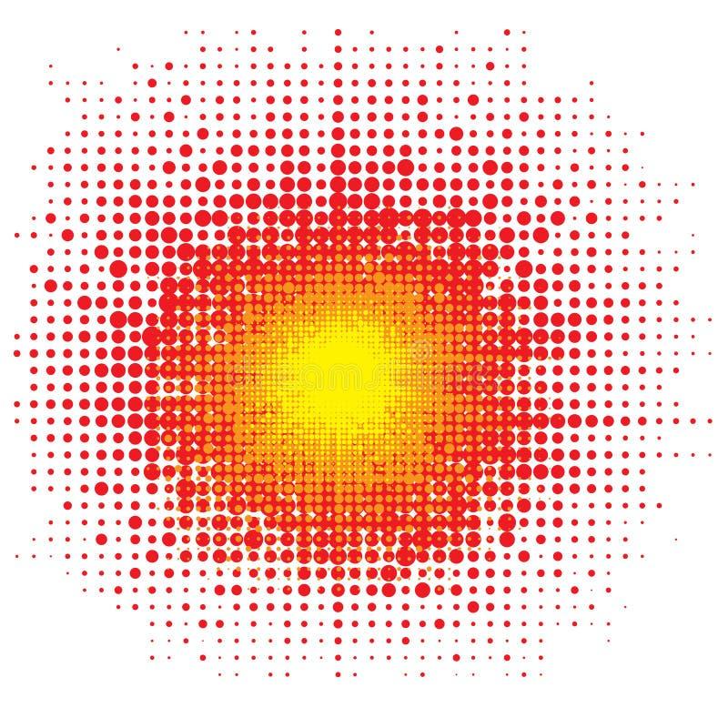 Halftone Explode Flash, Cartoon Explosion, gepunkteter Star Burst lizenzfreie abbildung