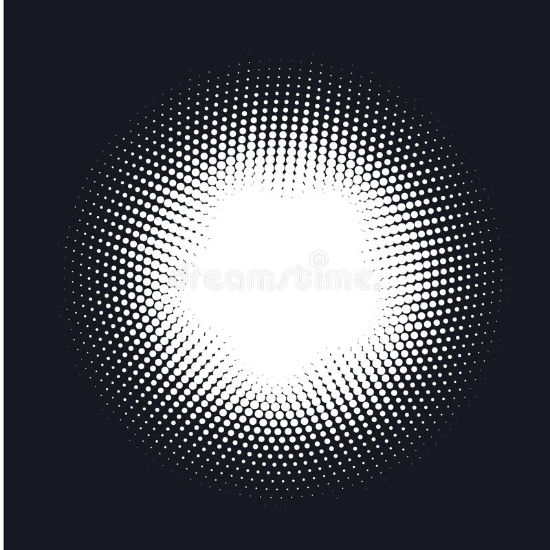 Halftone gestippelde vector abstracte achtergrond, puntpatroon in cirkelvorm vector illustratie