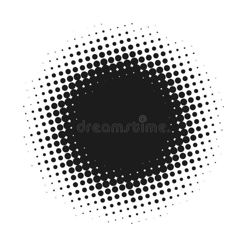 Halftone gestippelde vector abstracte achtergrond, puntpatroon in cirkelvorm De zwarte grappige banner isoleerde witte achtergron stock illustratie