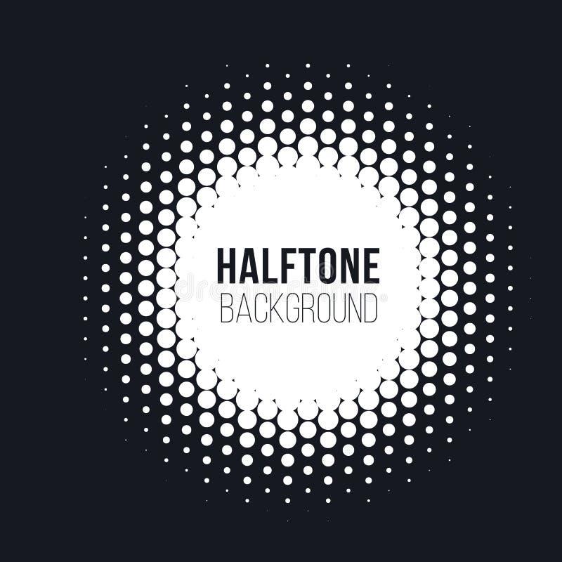Halftone gestippelde vector abstracte achtergrond, puntpatroon in cirkelvorm Witte grappige geïsoleerde achtergrond In ontwerp vector illustratie