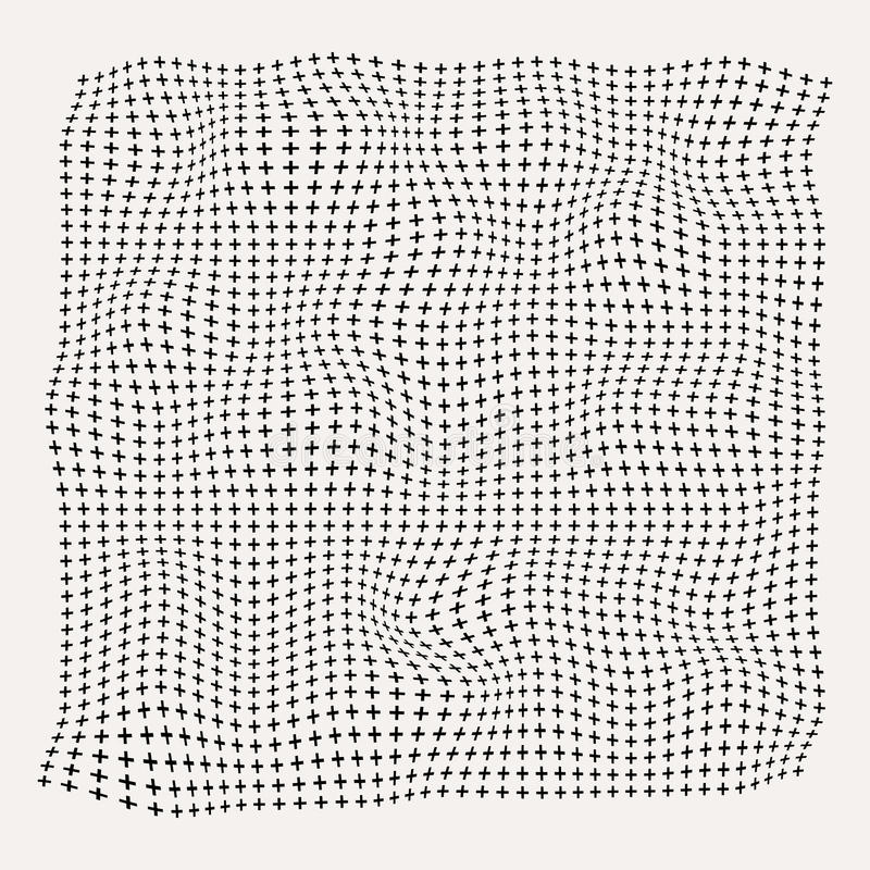Halftone golven plus symboolpatroon op oude witte achtergrond, roug vector illustratie