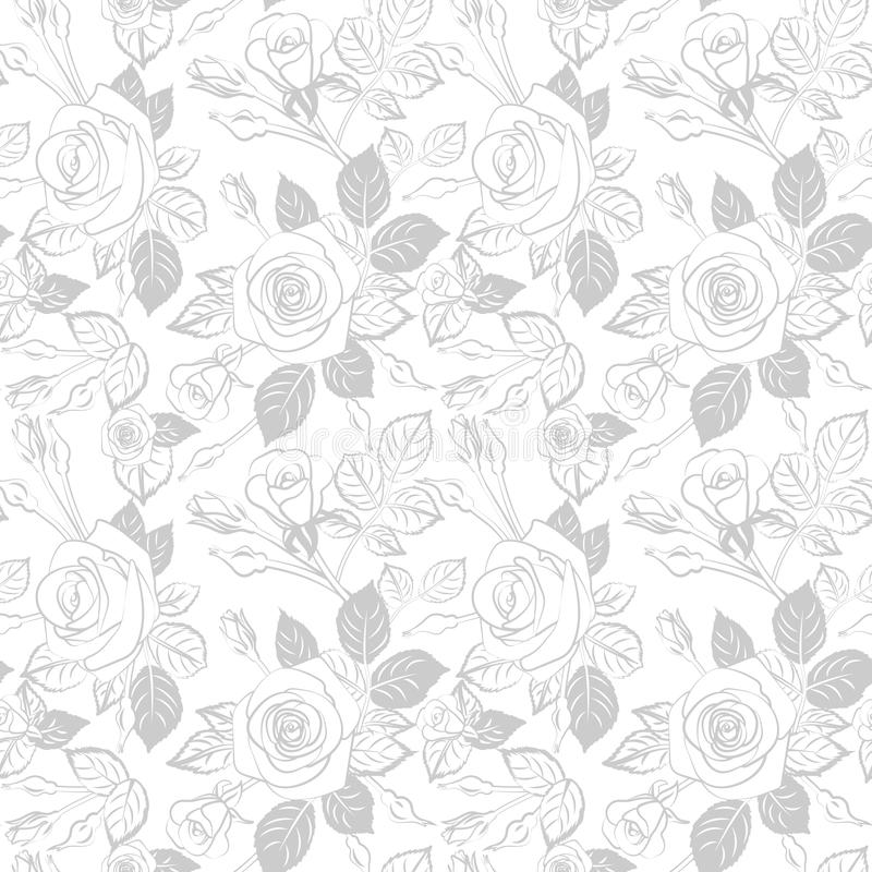 halftone gray flowers silhouette outline buds with leaves seamless pattern , repeatable vector texture tile square. scandinavian royalty free illustration
