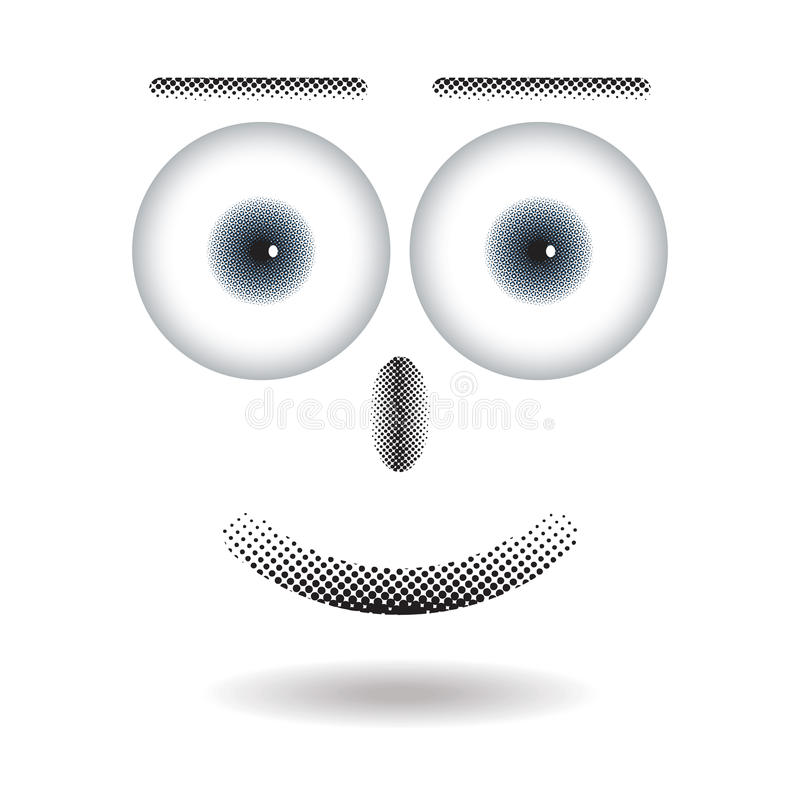 Halftone on happy face with big eye floating with shadow stock illustration