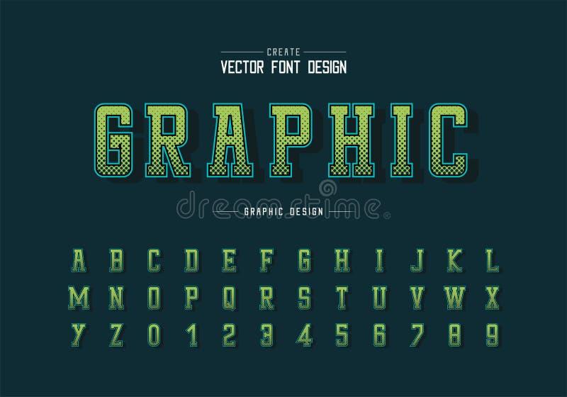Halftone hexagon doopvont en alfabet vector, Digitale lettersoort en aantalontwerp, Grafische tekstachtergrond royalty-vrije illustratie