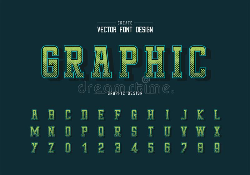 Halftone hexagon font and alphabet vector, Digital typeface and number design, Graphic text background royalty free illustration