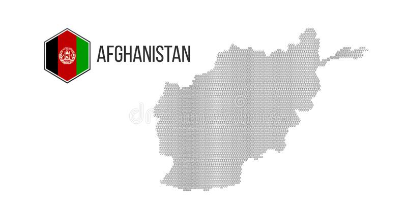 Halftone hexagonal Afghanistan Map. Vector geographic map combined of hexagonal shapes. hexagonal flag. Vector illustration. Isolated on white royalty free stock photography