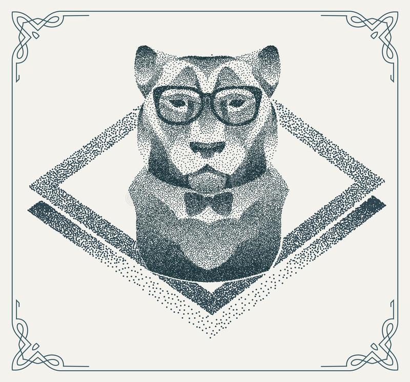Halftone hipster tiger with black Dots. Vector vector illustration