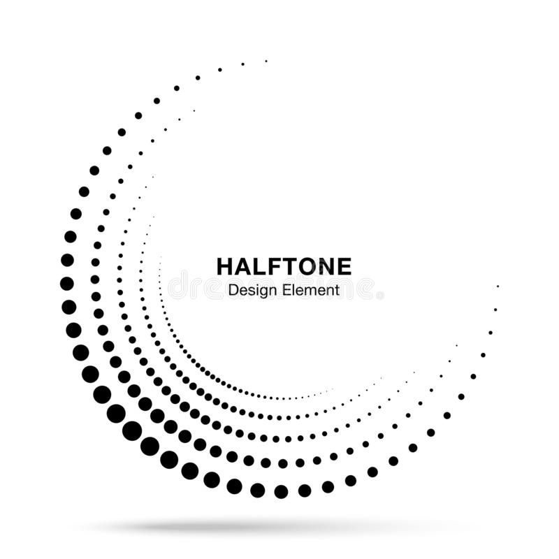 Halftone incomplete circle frame dots logo. Half circle border Icon using halftone circle dots texture. Vector vector illustration