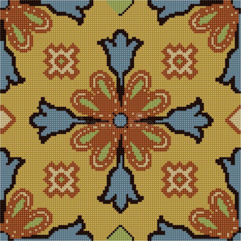 Halftone kleurrijke naadloze retro patroon uitstekende bruine blauwe cros stock illustratie