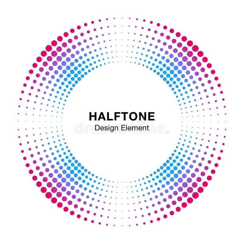 Halftone kleurrijke van het de puntenembleem van het cirkelkader abstracte element van het het embleemontwerp Halftint cirkelpict royalty-vrije illustratie