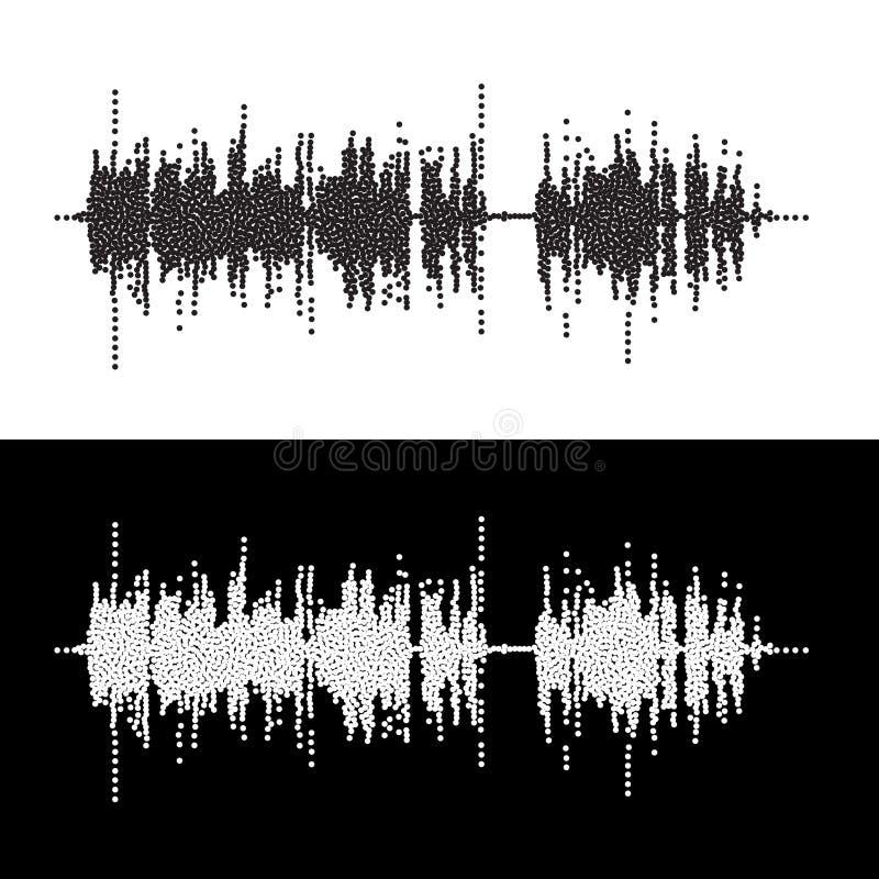 Halftone kropki kwadrata wektoru elementy Wektorowe rozsądne fala Muzyczny round waveform tło ilustracja wektor