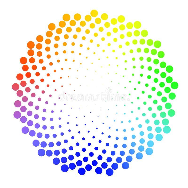Halftone kropkowany kolorowy tło circularly zakłócający halfback royalty ilustracja