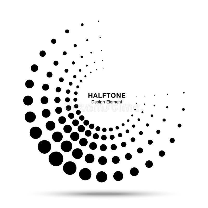 Halftone kropkuj?cy okr?g ramy kropek logo emblemata projekta abstrakcjonistyczny element dla medycznego, traktowanie, kosmetyk P royalty ilustracja