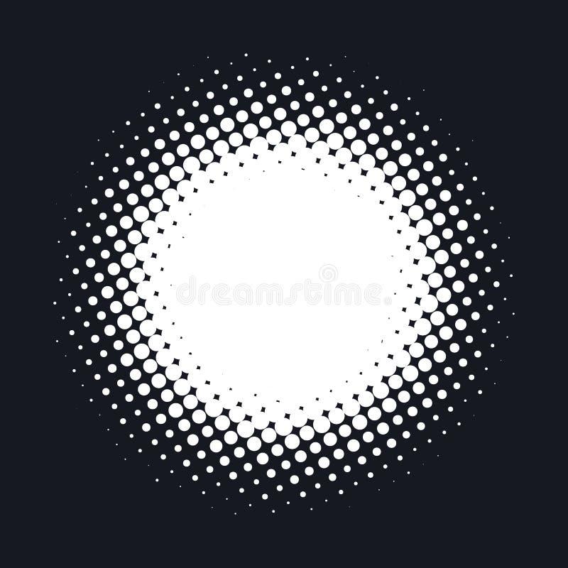 Halftone kropkujący wektorowy abstrakcjonistyczny tło, kropka wzór w okręgu kształcie Białej komiczki odosobniony tło Modny proje ilustracja wektor