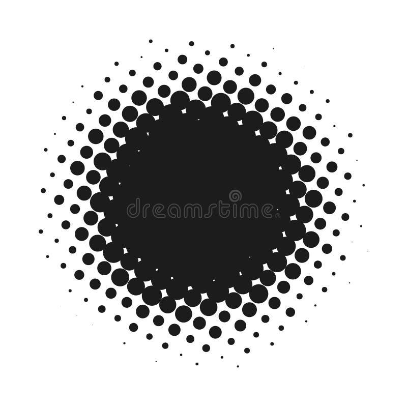 Halftone kropkujący wektorowy abstrakcjonistyczny tło, kropka wzór w okręgu kształcie Czarnego komicznego sztandaru odosobniony b ilustracji