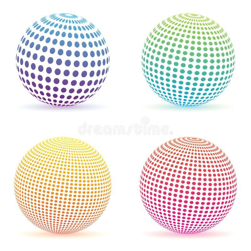 Halftone kropkuje gradientową sferę Kolorowy round logo ustawiający odizolowywającym ilustracji