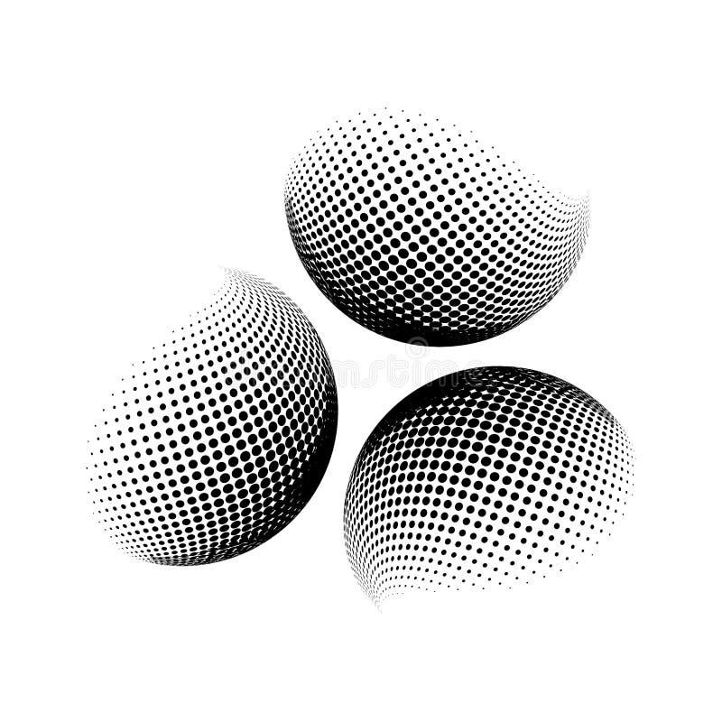 Halftone kula ziemska, sfera loga wektorowy symbol, ikona, projekt abstrakt kuli ziemskiej kropkowana ilustracja na tle ilustracji