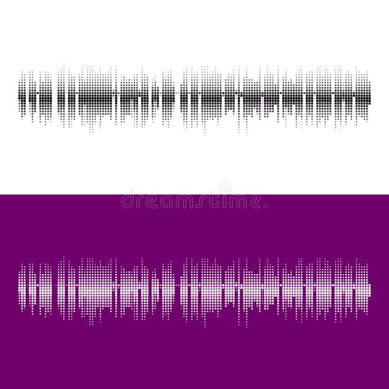 Halftone kwadratowi wektorowi elementy Wektorowe rozsądne fala Muzyczny round waveform tło royalty ilustracja