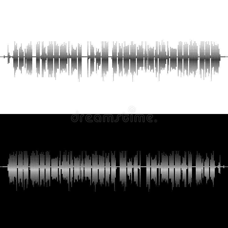Halftone kwadratowi wektorowi elementy Wektorowe rozsądne fala Muzyczny round waveform tło Ty możesz używać w klubie, radio, pub ilustracji