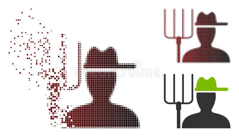 Halftone Landbouwer With Pitchfork Icon van het Destructedpixel vector illustratie