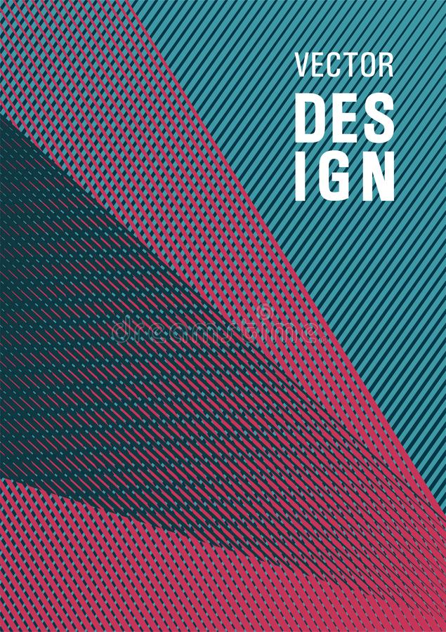 Halftone lines placard background graphic design. Trendy magazine backdrop. Linear geometry poster background vector template. Advertising publication backdrop royalty free illustration