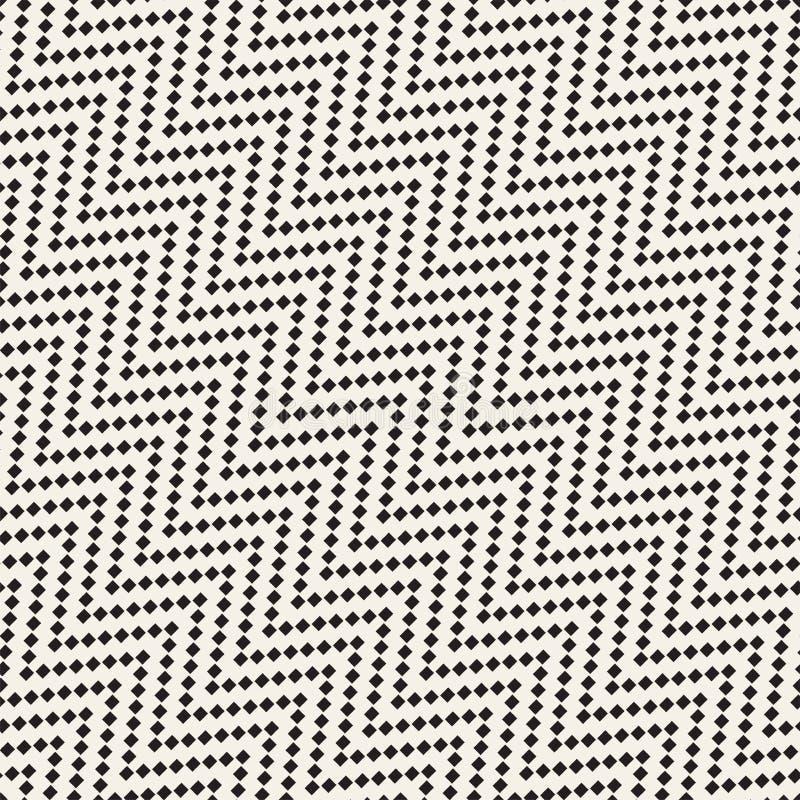 Halftone linii Zirytowanej mozaiki Niekończący się Elegancka tekstura czarny deseniowy bezszwowy wektorowy biel ilustracji