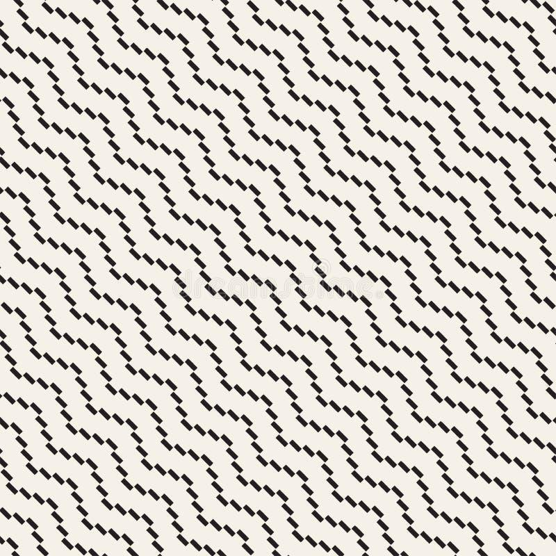 Halftone linii Zirytowanej mozaiki Niekończący się Elegancka tekstura czarny deseniowy bezszwowy wektorowy biel ilustracja wektor