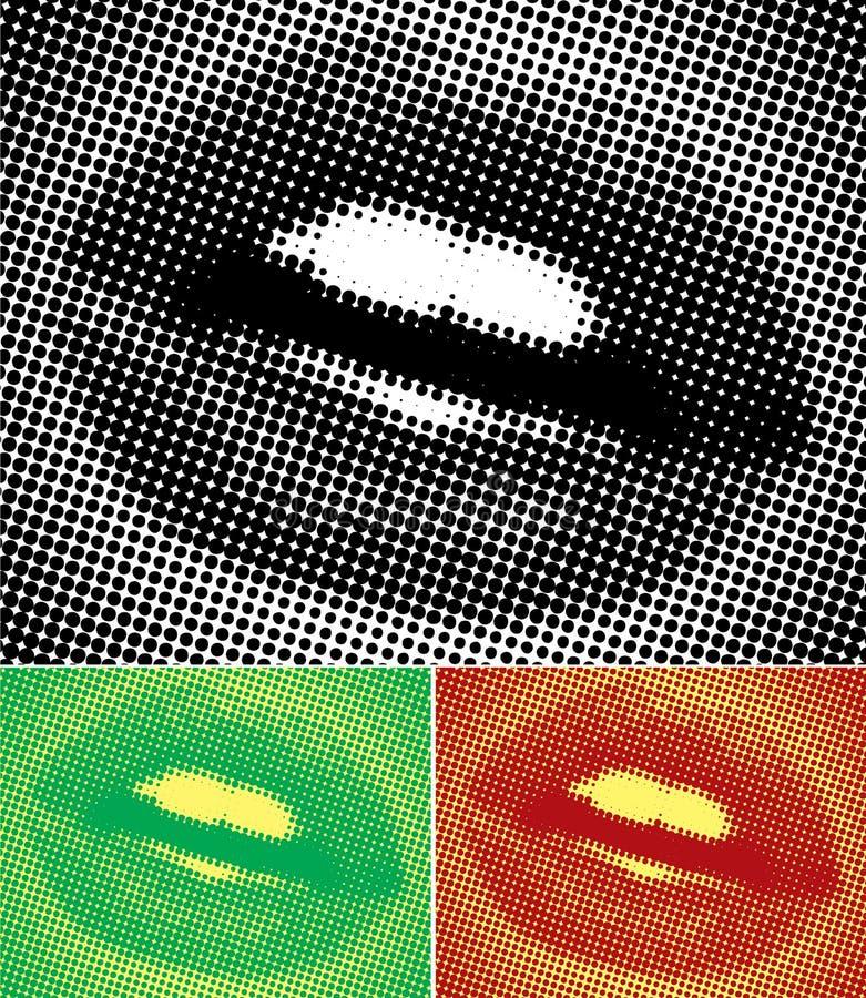 Halftone Lippen royalty-vrije illustratie