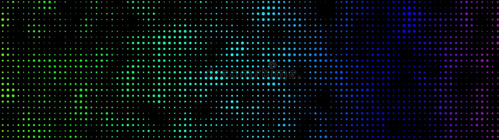 Halftone. Matrix glitch. Cybernetic futuristic background. Big data. Virus. Corrupted code. Vector illustration. Abstract background of black dots. Vector royalty free illustration