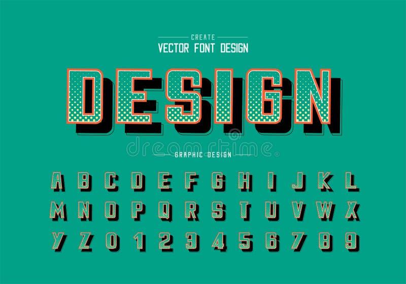 Halftone okrąg chrzcielnica, śmiały abecadło wektor, Cyfrowego typeface i liczba projekt, Graficzny teksta tło royalty ilustracja